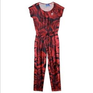 Red camo and rose print Adidas jumpsuit